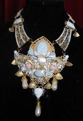 SOLD! 7233 Baroque Cherubs Genuine Caribbean Larimar Biwa Pearls Unique Necklace