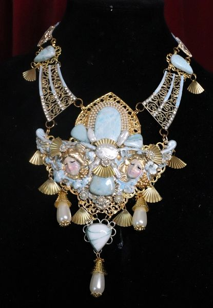 7233 Baroque Cherubs Genuine Caribbean Larimar Biwa Pearls Unique Necklace