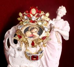 SOLD! 7236 Madonna And A Child Red Rhinestones Butterfly Cameo Massive Brooch