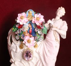 7238 Virgin Mary And A Child Pink Orchids Cameo Massive Brooch