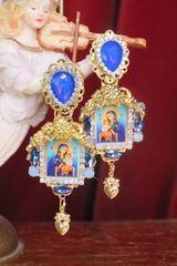 7240 Virgin Mary Madonna And A Child Icon Blue Rhinestones Earrings