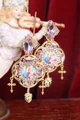 7240 Virgin Mary Madonna And A Child Pink Icon Rhinestones Earrings