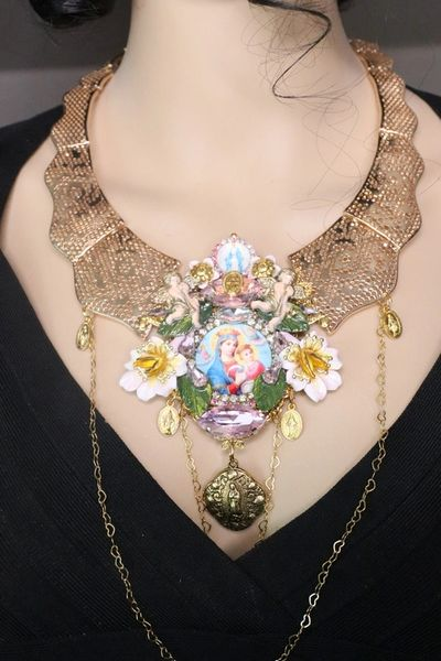 7241 Baroque Madonna And A Child Virgin Mary Cherubs Orchids Unique Necklace