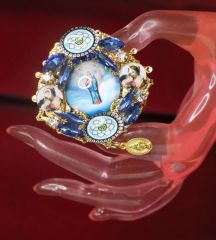 7242 Virgin Mary Blue Cameo Cocktail Adjustable Ring