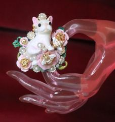 SOLD! 7244 Baroque Art Jewelry Adorable French Bulldog Cocktail Adjustable Ring