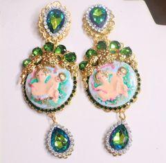 7245 Victorian Cupid Hand Painted Green Rhinestones Earrings