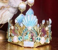 7247 Set Of Birth Of Venus Stunning Crown Tiara+ Earrings