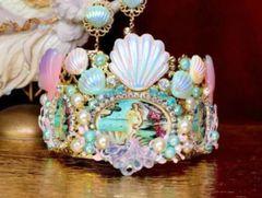 SOLD! 7246 Set Of Birth Of Venust Stunning Crown Tiara+ Earrings