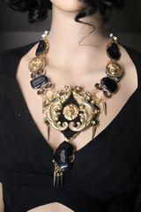 SOLD! 7248 Medieval Genuine Agates Lion Dragons Massive Necklace
