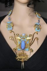SOLD! 7249 Asian Revival China Genuine Opal Gemstones Iridescent Massive Necklace