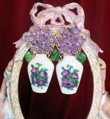7251 Baroque Hydrangea Vase Light Weight Parrots Earrings
