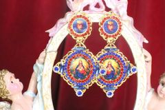 SOLD! 7253 Church Lord Jesus Sacred Heart Colorful Earrings