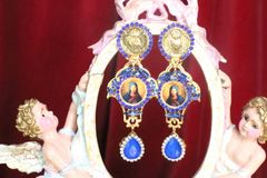 7255 Virgin Mary Madonna Sacred Heart Blue Colorful Earrings