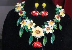7262 Set Of Art Nouveau Vivid Hand Dona Anna Flower Ladybug Hand Painted Necklace+ Earrings