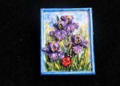 SOLD! 7264 Art Nouveau Hand Painted 3D Effect Iris Flower Ladybug Brooch