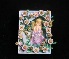 SOLD! 7265 Art Nouveau Hand Painted 3D Effect Carved Lady Flower Blossom Brooch