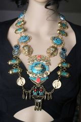 7268 Egyptian Revival Pharaoh Genuine cooper Turquoise Huge Massive Necklace