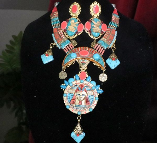 7269 Egyptian Revival Pharaoh Genuine Turquoise Sterling Silver Huge Massive Necklace