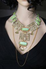 SOLD! 7270 Egyptian Revival Pharaoh Genuine Triplet Opal Huge Massive Necklace