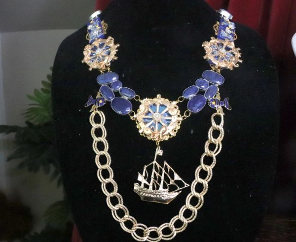 7272 Nautical California Ship Wheel Genuine Tanzanite Massive Necklace