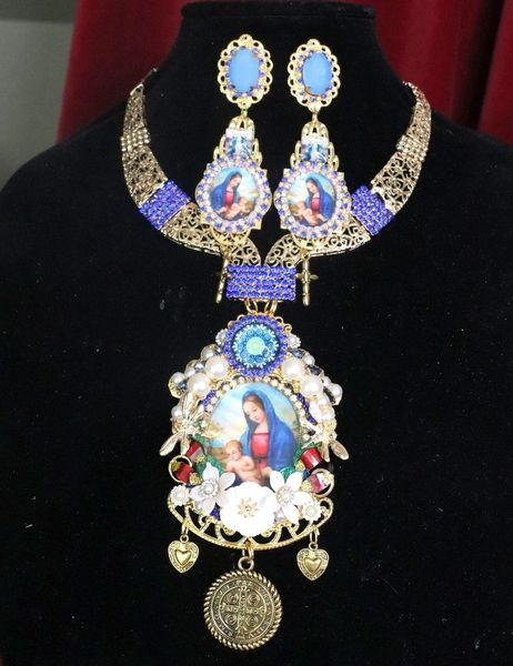 7273 Virgin Mary Icon Cameo Blue Rhinestones Massive Necklace