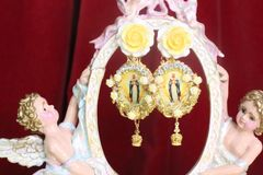 7274 Virgin Mary Madonna Yellow Rose Colorful Earrings