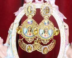 7276 Virgin Mary Madonna Yellow Rhinestone Long Earrings
