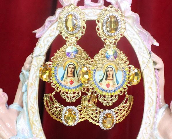 7276 Virgin Mary Madonna Yellow Rhinestone Long Earrings
