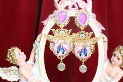 7277 Virgin Mary Madonna Lavender Rhinestone Long Earrings
