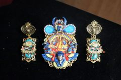 SOLD! 7278 Egyptian Revival Cameo Scarab Hand Painted Huge Brooch