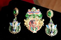 SOLD! 7279 Egyptian Revival Cameo Cleopatra Snakes Hand Painted Huge Brooch