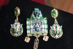 7280 Egyptian Revival Pharaoh Green Rhinestone Hand Painted Huge Brooch