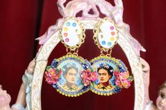 SOLD! 7281 Frida Kahlo Palette Hand Painted Earrings