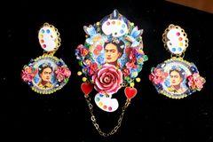 SOLD! 7282 Frida Kahlo Palette Hand Painted Huge Brooch