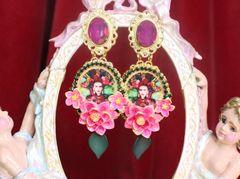 SOLD! 7283 Frida Kahlo Fuchsia Peony Hand Painted Earrings