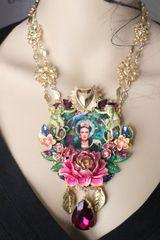 SOLD! 7285 Frida Kahlo Monkey Jungle Sacred Heart Massive Necklace