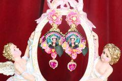 SOLD! 7286 Frida Kahlo Fuchsia Peony Hand Painted Hearts Earrings