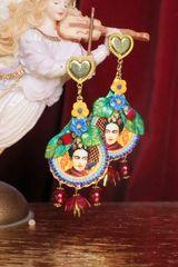 7287 Frida Kahlo Dangle Flower Hand Painted Earrings