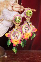 7288 Frida Kahlo Flower Yellow Rhinestone Hand Painted Earrings