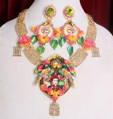 7289 Frida Kahlo Monkey Jungle Birds Massive Necklace