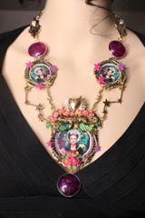 7290 Frida Kahlo Sacred Heart Stars Amber Necklace