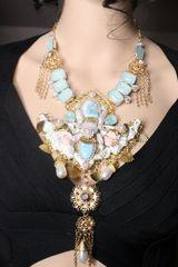 7293 Baroque Genuine Caribbean Larimar Chalcedony Massive Necklace