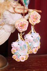 SOLD! 7296 Baroque Colorful Unicorns Roses Rainbow Massive Studs Earrings