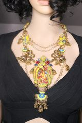 7297 Egyptian Revival Pharaoh Yellow Snakes Genuine Calsilica Gemstones Huge Massive Necklace