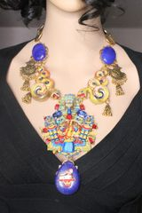 SOLD! 7299 Egyptian Revival Pharaoh Yellow Snakes Huge Massive Genuine Sulemani Agate Hand Painted Necklace
