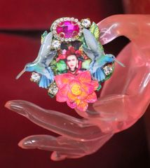 SOLD! 7302 Frida Kahlo HummingbirdsCocktail Adjustable Ring