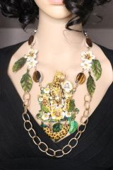 SOLD! 7303 Set Of Art Jewelry 3D Effect Cheetah Family Genuine Tiger Eye Gemstones Flowers Hand Painted Necklace