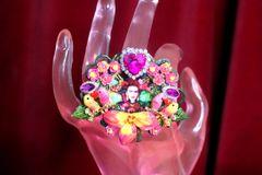 SOLD! 7304 Frida Kahlo Birds Cocktail Adjustable Ring