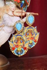 SOLD! 7305 Egyptian Revival Cleopatra Cameo Earrings