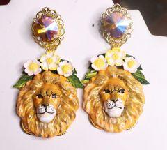 7307 Art Nouveau Vivid Small Lion Leaf Earrings